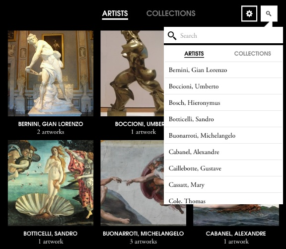 Screenshot of Artsy Folio